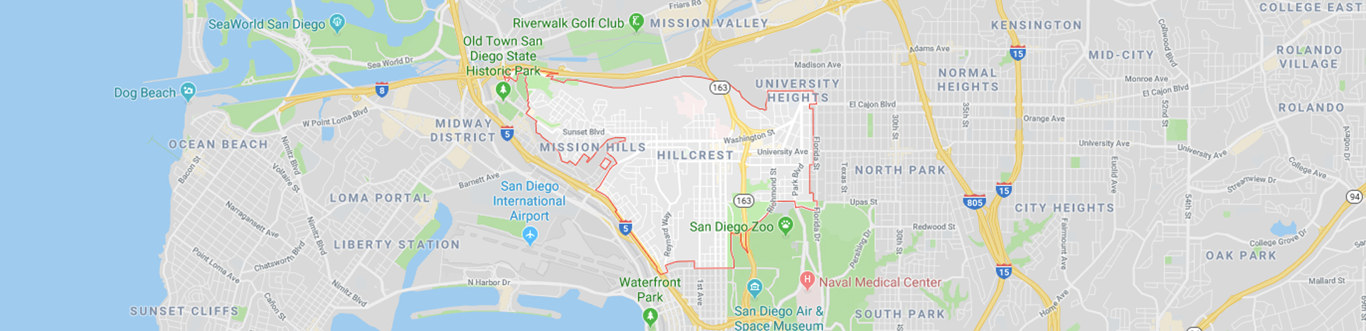 Hillcrest and Mission Hills San Diego Map