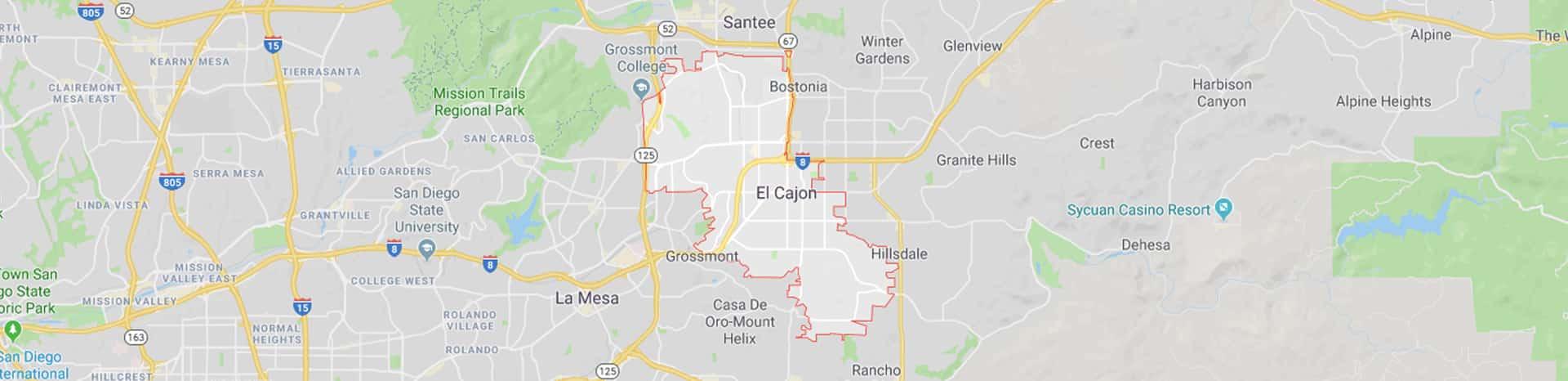 Map of El Cajon San Diego